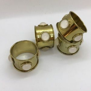 Other - Brass & polished stones napkin rings set of 4